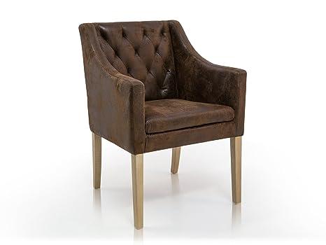 Carlos Polstersessel Sessel Esszimmerstuhl Esstischstuhl Stuhl Polsterstuhl Eichefarbig/Microfaser Vintage