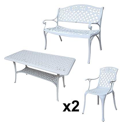 Lazy Susan - CLAIRE Rechteckiger Garten Beistelltisch mit 1 ROSE Gartenbank und 2 ROSE Stuhlen - Gartenmöbel Set aus Metall, Weiß
