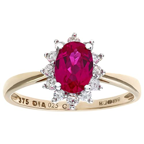 Naava Round Brilliant 0.25ct Ruby and Diamond 9ct Oval Cluster Ring