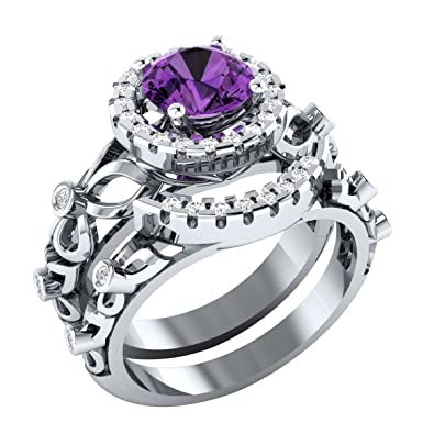 RS JEWELS 1.50 ct Amethyst & Sapphire 925 Sterling Silver Engagement & Wedding Bridal Ring Set For Women's
