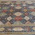 Yilong 8.5'x10.2' Persian Silk Rugs Handmade Oriental Traditional Checkered Floral Pattern Hand Knotted Home Carpet (Multi) Q1652