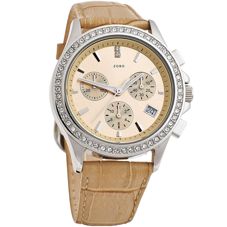 Damen Armbanduhr – Quarz-Chronograph – Gehäuse und Boden Edelstahl – mit Swarovski-Elements günstig bestellen