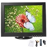 YaeCCC 12 inch CCTV LCD Monitor VGA/AV/HDMI/TV Input Display Security Camera 800 x 600 Computer Screen Compatible Remote Control
