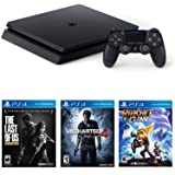Sony Playstation 4 Slim Gaming Console 1 TB Core with The Last Of Us, Uncharted 4, Ratchet & Clank Bundle - (Jet Black)