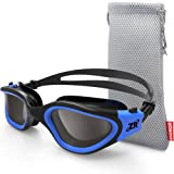 Zionor Swimming Goggles, G1 Polarized Swim Goggles with Mirror/Smoke Lens UV Protection Watertight Anti-fog Adjustable Strap Comfort fit for Unisex Adult Men and Women, Teenagers (Color: A3-G1-Polarized Smoke Lens Black Blue, Tamaño: One Size)