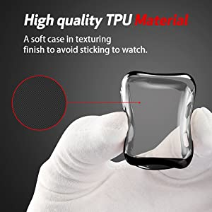 Smiling Case for Apple Watch 38mm with Buit in TPU Screen Protector All-Around Protective Case High Defination Clear Ultra-Thin Cover for Apple Watch 38mm Series 3 and Series 2 (Black, 38mm) (Color: black, Tamaño: 38 mm)