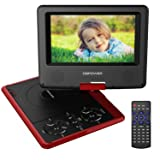 DBPOWER 7.5-Inch Portable DVD Player with Rechargeable Battery, SD Card Slot and USB Port - Red