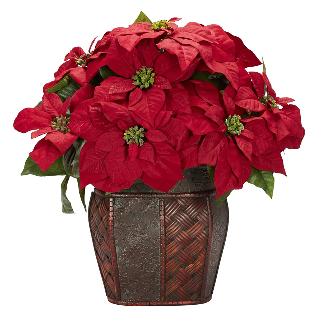 Nearly Natural 1264 Poinsettia With Decorative Vase Silk Flower