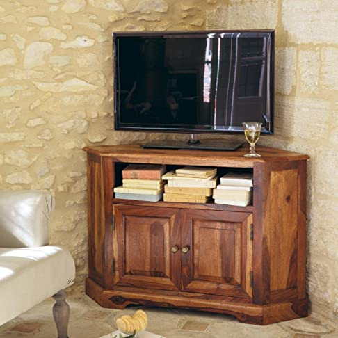 Legno Dekor 1ripiano aperto TV 2anta, Sheesham naturale, 105x 70x 70cms