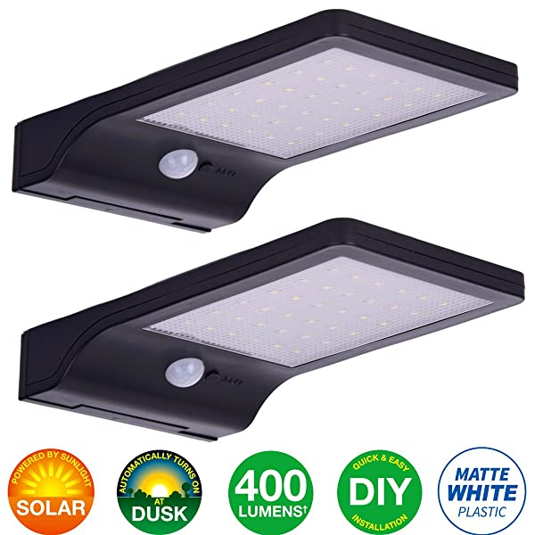 LED Solar Motion Sensor Light Outdoor 2 Pack, Security Motion Activated Wall Lights with Mounting Poles for Gutter Patio Garden Path, Waterproof Cordless Exterior Foodlights, Matt Black (Color: Black)