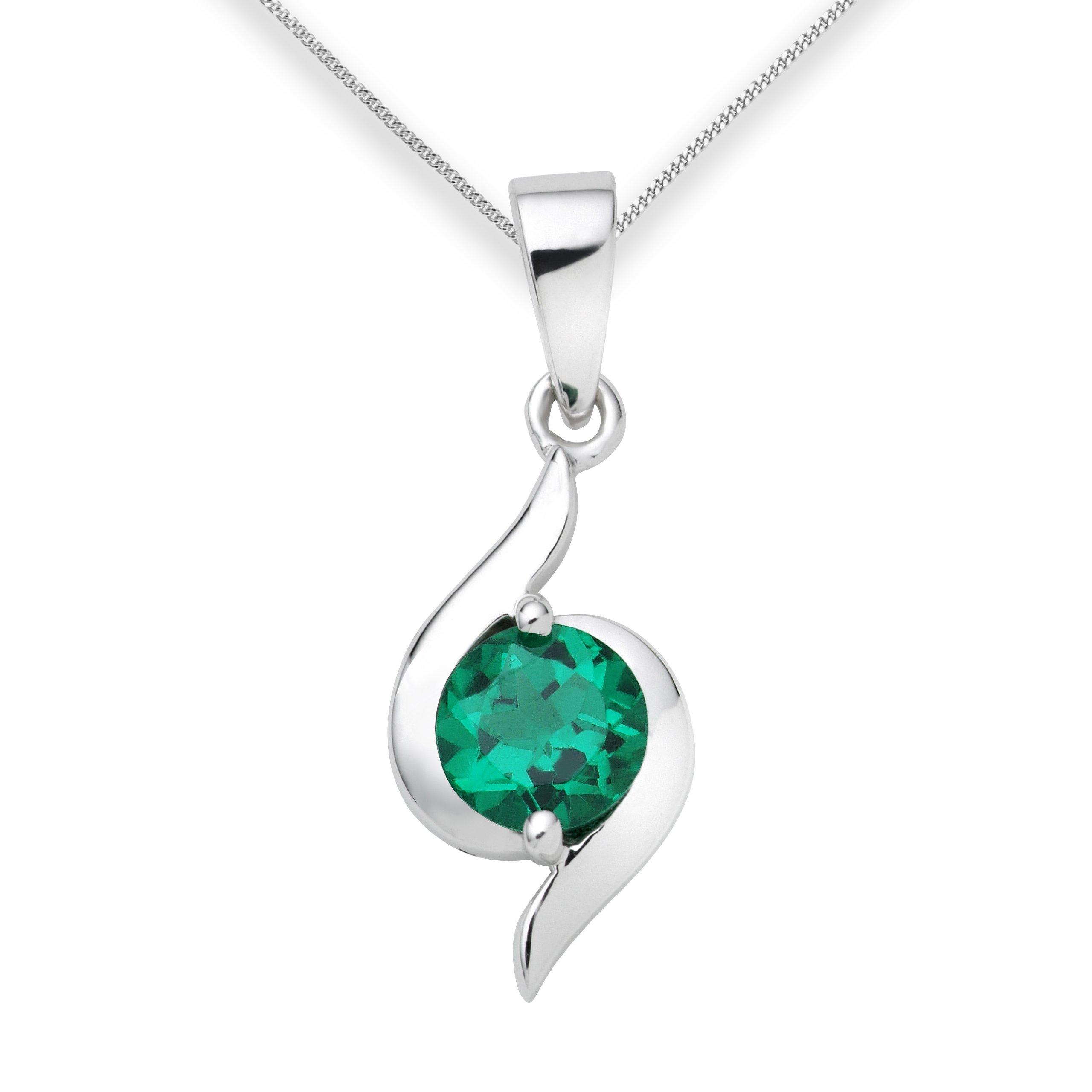 miore emerald necklace 9ct white gold created emerald