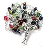 Colorful Rosary Beads Crystal Beaded Catholic Necklace With Holy Mary Medal & Jesus Cross