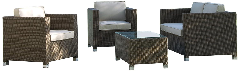 Stern 418778 Gruppe Match, Geflecht espresso, 2 Sessel, 1 Sofa, Sitz- und Rückenkissen ecru, 1 Beistelltisch mit Klarglasplatte