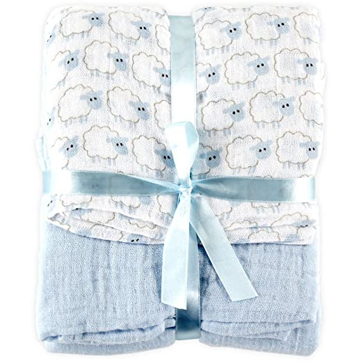 Amazon.com: Hudson Baby 2 Count Muslin Swaddle Blanket, Blue: Baby