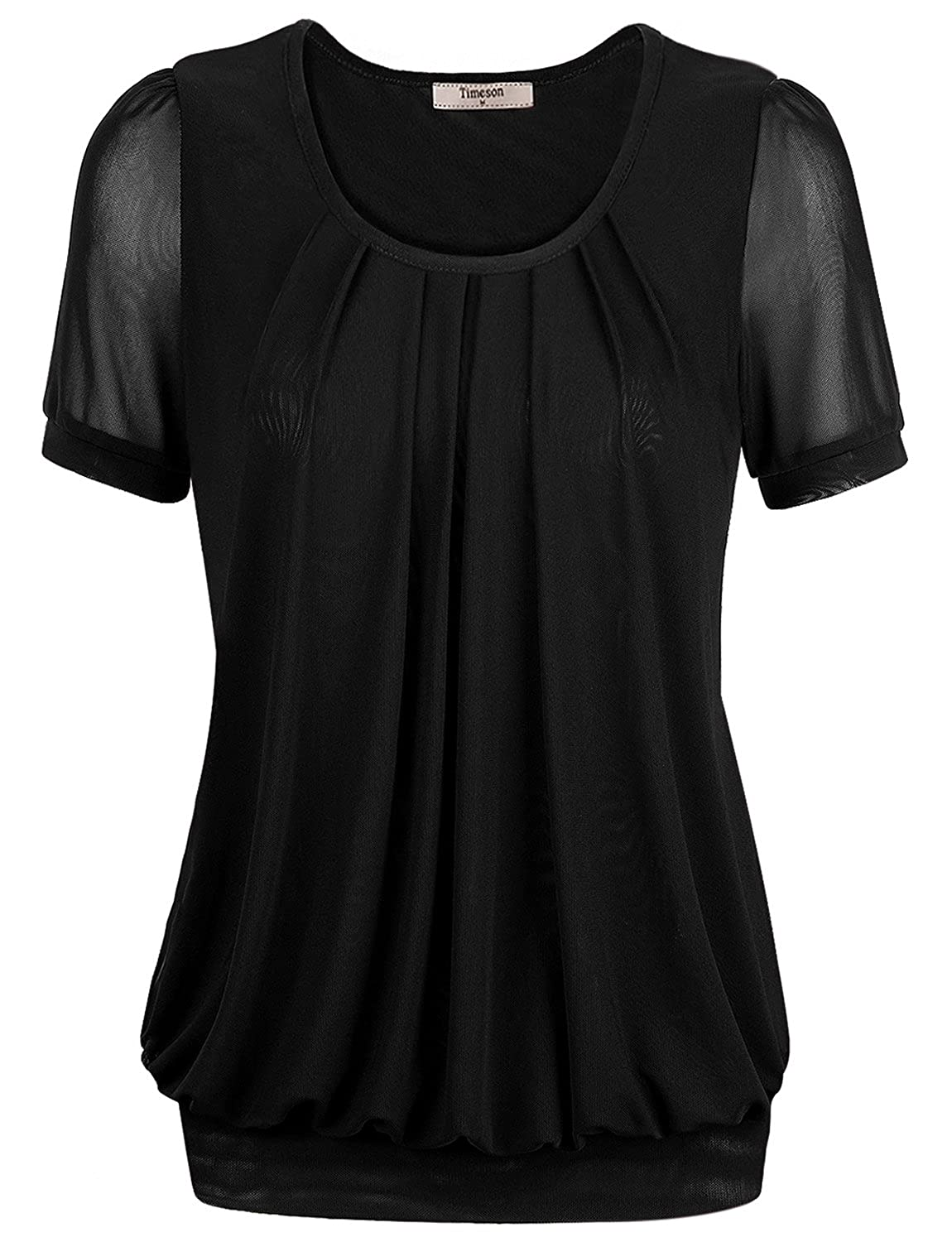 Timeson Womens Short Sleeve Scoop Neck Pleated Front Fitted Blouse Top