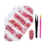 2800Pcs SS4-SS16 Mixed Sizes AB Crystal Rhinestones - Color Super Shiny Nail Art Flatback Crystals with Wax Rhinestone Pen Tweezers for 3D Nail Art Decorations Face Makeup Phone Shoes (Orange Red AB) (Color: Orange Red AB, Tamaño: one size)