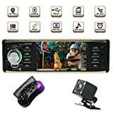 Single Din Bluetooth Car Stereo with USB/SD/AUX/FM Car Radio Player Car Audio with 4.1 Inch HD Screen Backup Camera Steering Wheel Remote Control (Color: 4029B)