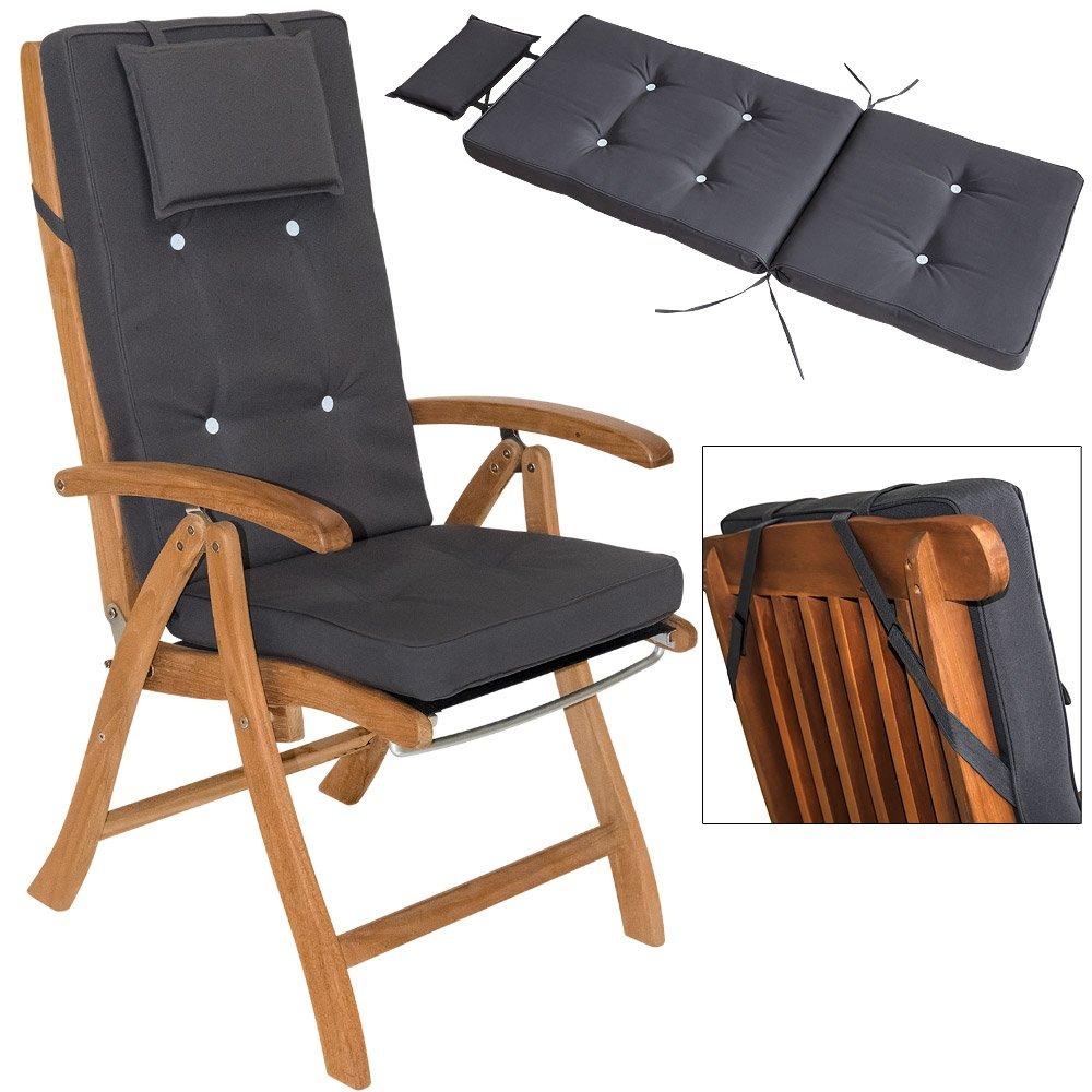 6x 7cm Sitzkissen Stuhlkissen Kissen Stuhlauflage Hochlehner Auflage Sitzauflage Anthrazit günstig online kaufen
