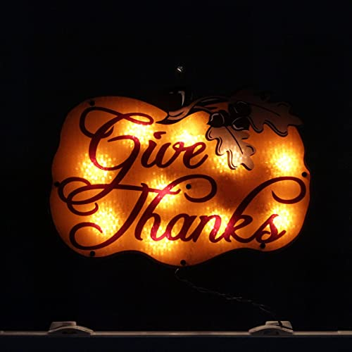16 Lighted Give Thanks Pumpkin Thanksgiving Window Silhouette Decoration