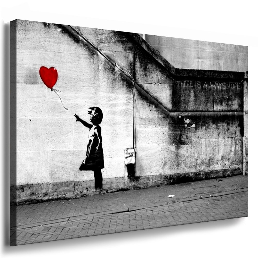 Fotoleinwand24  Banksy Graffiti Art There Is Always Hope / AA0134 / Bild auf Keilrahmen / Grau / 120x80 cm    Kundenbewertung: