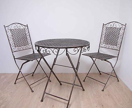 Sitzgruppe Siena Runder Tisch mit 2 Stuhlen Metall Gartengarnitur Gartenmöbel