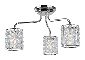 Firstlight Pearl G9 IP44 3 x 240 V 40 Watt Chrome Flush Fitting with Crystal       reviews and more information