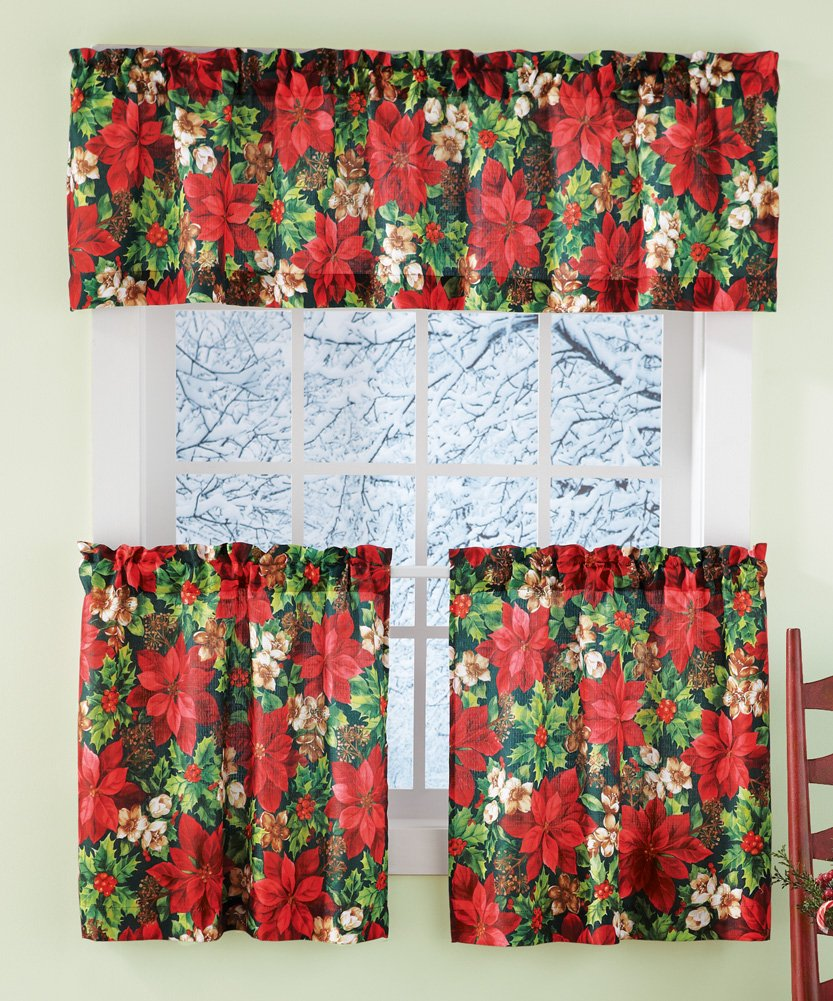 Poinsettia Window Curtains | Christmas Wikii