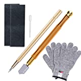 Anezus Glass Cutter Tool with 2-15mm Metal Handle Glass Cutter, Cut Resistant Gloves, Tungsten Scribe Etching Engraving Pen and Sanding Paper for Stai