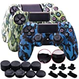 9CDeer 3 Pieces Silicone Water Transfer Protective Sleeve Case Cover Skin + 8 Thumb Grips Analog Caps + 3 Sets dust Proof Plug PS4/Slim/Pro Controller, Camouflage White Blue Green (Color: Camouflage White Blue Green, Tamaño: water print pack)