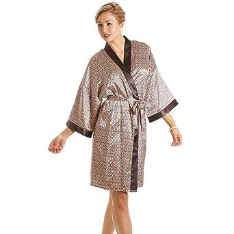 robe de chambre en satin satin pour femme imprim animal tailles 36 50. Black Bedroom Furniture Sets. Home Design Ideas