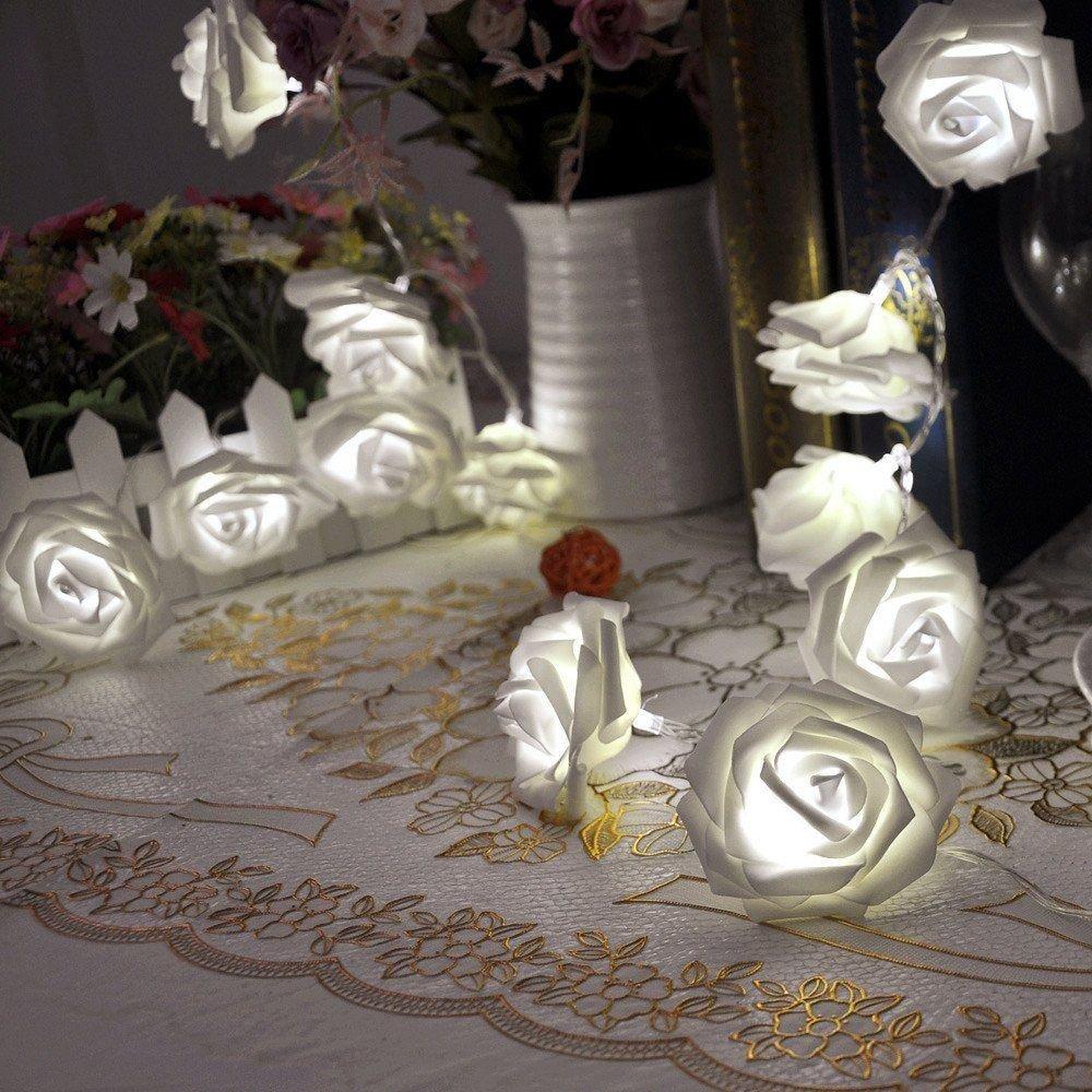 Rose Flower Fairy String Lights 20LED Wedding Garden Party Christmas Decoration