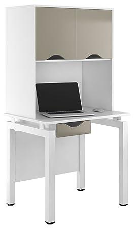 Kit à mon bureau uclic Bench Bureau Armoire avec 1tiroir et 2portes de rangement supérieur, en métal, gris pierre, 800mm