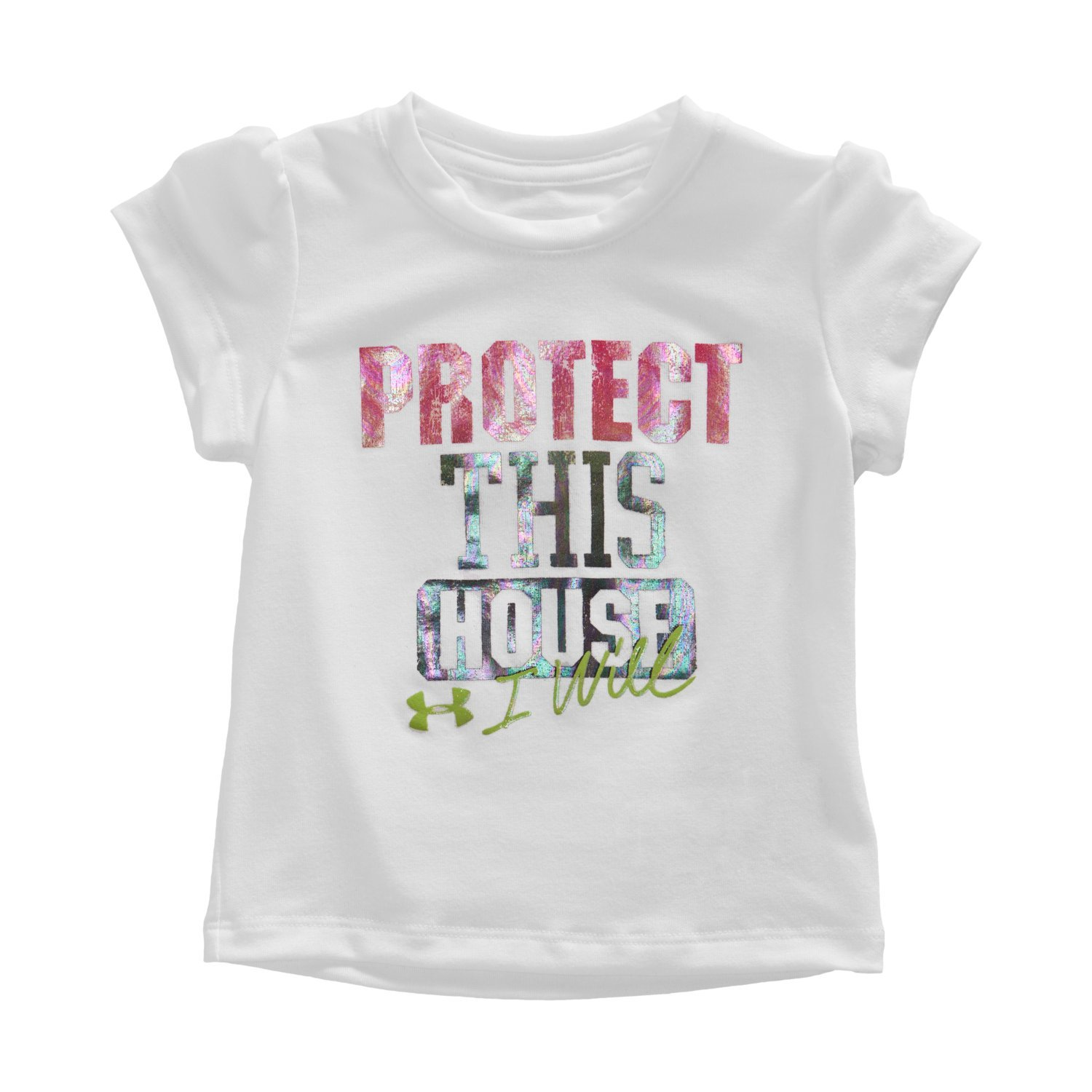 Under Armour Girls White UA Protect This House I Will Big Text Shirt