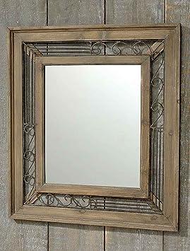 spiegel mit holzrahmen h he 74 cm wandspiegel spiegel zum h ngen us40. Black Bedroom Furniture Sets. Home Design Ideas