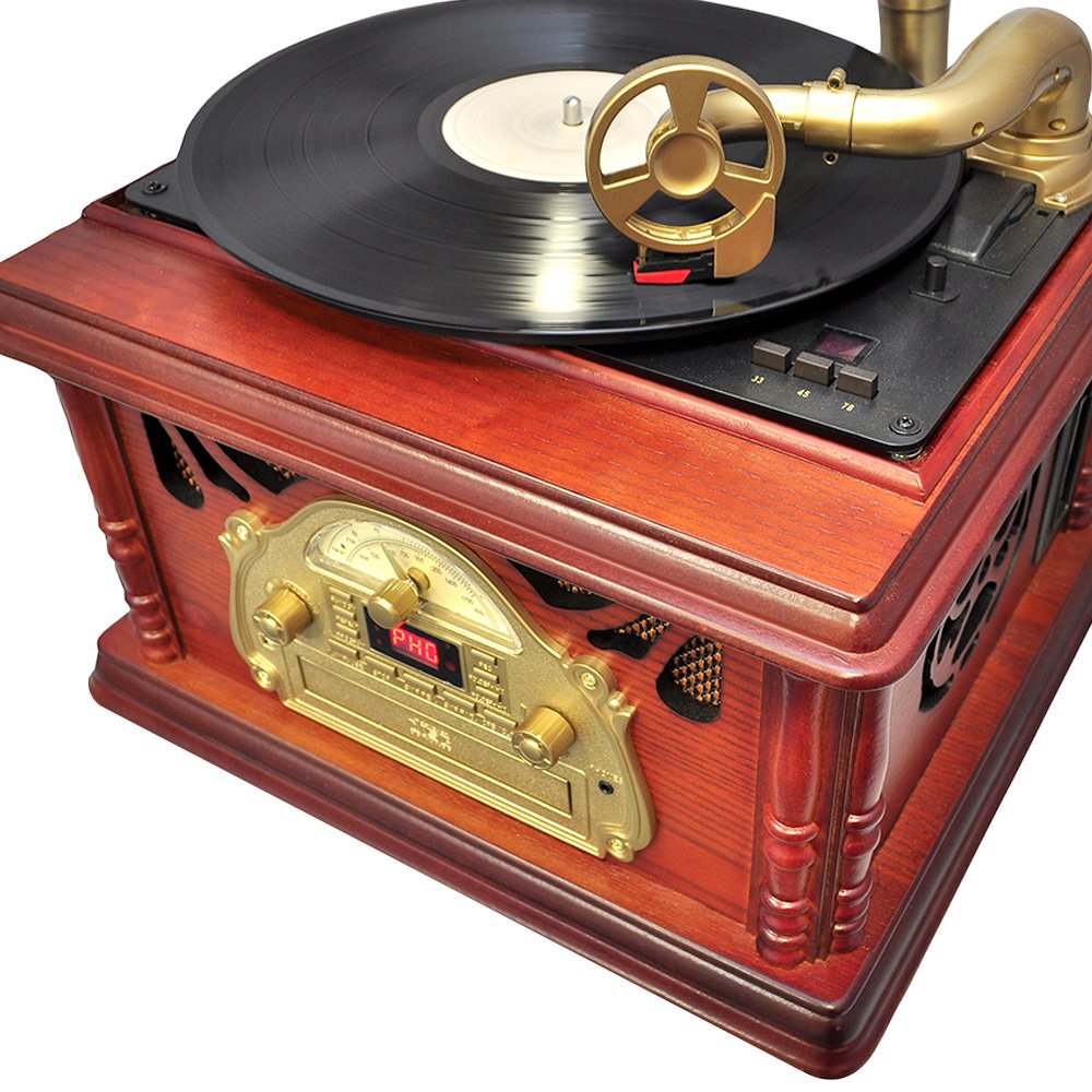 Pyle-Home PTCDS3UIP Classical Trumpet Horn Turntable with AM/FM Radio CD/Cassette/USB & Direct to USB Recording 3