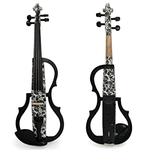Kinglos 4/4 White Gray Flowers Colored Solid Wood Advanced 3-Band-EQ Electric/Silent Violin Kit with Ebony Fittings Full Size (SDDS1309) (Color: SDDS1309)