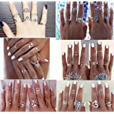 WellieSTR 38 Pieces Turkish Arrow Moon Turquoise Joint Knuckle Nail Midi Ring Set Boho Ring Set (Color: Ring Set.1)