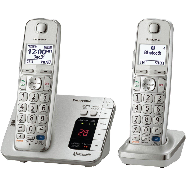 Telefonos-fijos Panasonic, Panasonic KX TGE262S Link2Cell Bluetooth permitió el teléfono con contestador 2 auriculares inalámbricos en Veo y Compro