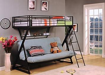 Acme 37136 Sandy Black Finish Twin/Full Bunk Bed w/Bookshelf