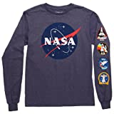 Fifth Sun NASA Logo Adult Long Sleeved T-Shirt - Navy (Large) (Color: Navy, Tamaño: Large)