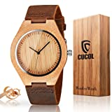 CUCOL Mens Wooden Watches Brown Cowhide Leather Strap Casual Watch for Groomsmen Gift with Box (Color: Brown)