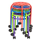 Norwood Commercial Furniture NOR-2200MAC-SO Mobile Assorted Color Plastic Stack Stool with Stability Ring, Blue, Green, Red, Purple, 17 3/4
