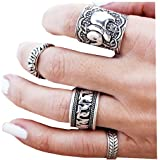 Sunscsc Vintage Retro Silver Elephant Joint Knuckle Nail Rings Set of 4 Rings