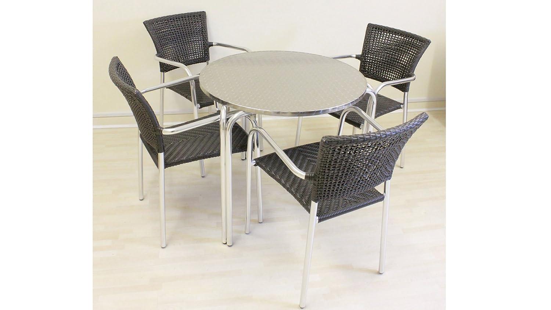 Sol CB228ACAC Bistro Set - 80 Filtro Esszimmer Bistro Gartenmöbel Alu Rattan, Tisch + 4 Stühle