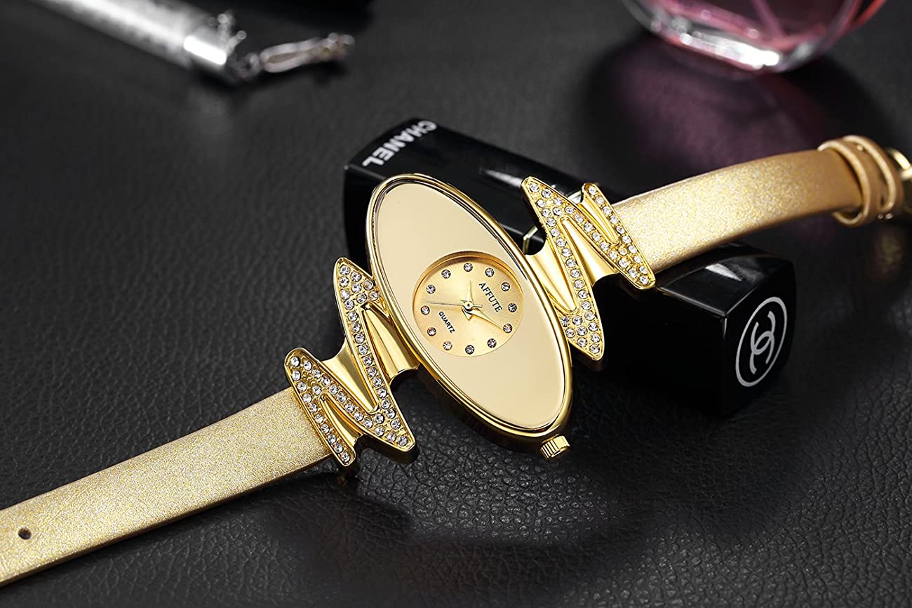 Retro Gold Leather Strap Brand Women Watch Strass Rhinestone Jewelry Quartz Wrist Watches 4