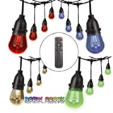 Foxlux Outdoor RGB String Lights - Color Changing LED String Lights - 48FT 24 Sockets Patio Lights - Red/Green/Blue/White - Shatterproof & Waterproof Plastic Bulbs for Backyard, Garden, Bistro, Cafe (Color: RGB)