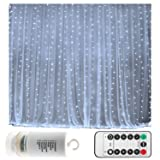 Battery Operated 300 LED Curtain String lights w/ Remote & Timer, Outdoor Curtain Icicle Wall Lights For Wedding Backdrops, Christmas, Holiday, Camping Decoration (9.8×9.8ft, Dimmable, Cool White) (Color: Cool White)