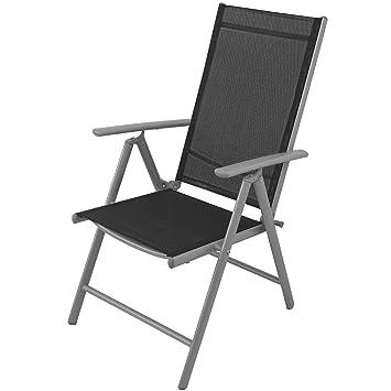 4x alu hochlehner klappstuhl klappsessel gartenstuhl gartensessel positionsstuhl mit schwarzer. Black Bedroom Furniture Sets. Home Design Ideas