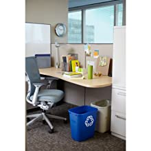 "Rubbermaid Commercial FG295600BEIG Plastic Deskside Wastebasket, 28-1/8 qt Capacity, 14-3/8"" Length x 10-1/4"" Width x 15"" Height, Medium, Beige (Case of 12)"