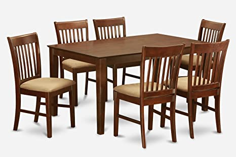 East West Furniture CANO7-MAH-C 7-Piece Dining Room Table Set